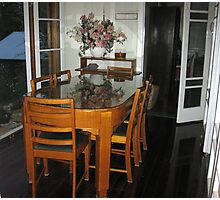 Qld Maple dining table and chairs. Photographic Print