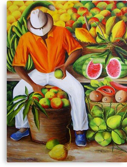 Manuel the Caribbean Fruit Vendor by Dominica Alcantara