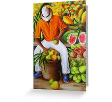 Manuel the Caribbean Fruit Vendor Greeting Card