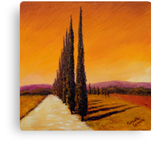 Tuscan Cypress Road Canvas Print