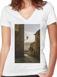 Cortona, Tuscany Women's Fitted V-Neck T-Shirt