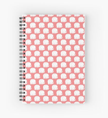 mod baby elephants coral Spiral Notebook