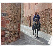 Man and Mule, Albarracin, Aragon, Spain Poster