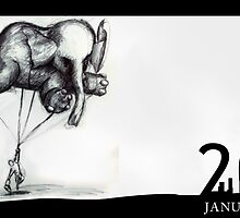 January 20th - Floating to school on my own personal elephant by 365 Notepads -  School of Faces