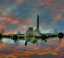 B-17 Flying Fortress At Sunset by © Steve H Clark Photography