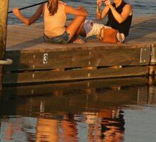 Sunset Photographer on a Pier Sticker