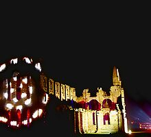 Spot Lights On Whitby Abbey  by Sunsetman2009