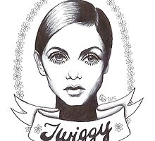 Twiggy Biro Line Drawing  by Rosie Storer
