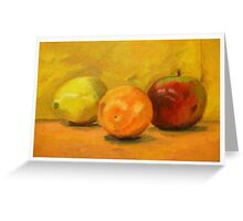 Orange, Lemon, and Apple Greeting Card
