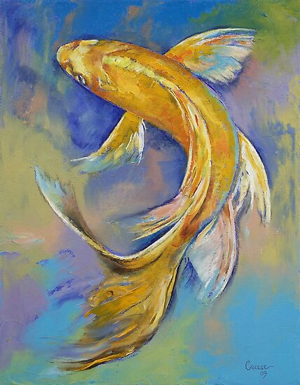 Orenji butterfly koi by michael creese redbubble for Koi prints canvas