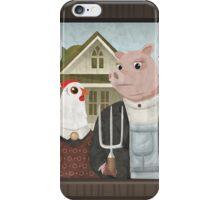 American Gothic Parody, Chicken & Pig iPhone Case/Skin