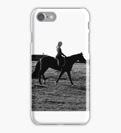 silhouette of girl on horse iPhone Case/Skin