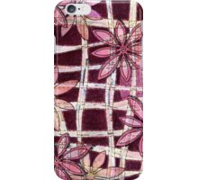 Hand Carved Flowers Burgundy iPhone Case/Skin
