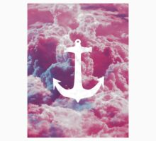 Girly Nautical Anchor Bright Pink Clouds Sky Kids Tee