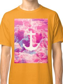 Girly Nautical Anchor Bright Pink Clouds Sky Classic T-Shirt