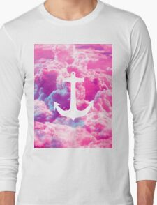 Girly Nautical Anchor Bright Pink Clouds Sky Long Sleeve T-Shirt