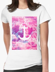 Girly Nautical Anchor Bright Pink Clouds Sky Womens Fitted T-Shirt