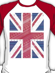 Modern Abstract White Aztec UK Union Jack Flag T-Shirt