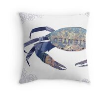 Rusty Blue Crab & Lace Mashup Throw Pillow
