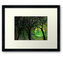 Cross Hatched Tree Green Watercolors Framed Print