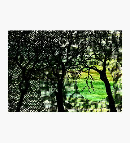 Cross Hatched Tree Green Watercolors Photographic Print