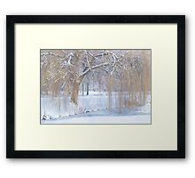 Snow in the willows Framed Print