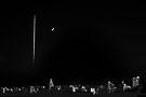 Vapor Trail, Crescent Moon Over Manhattan by Mary Ann Reilly