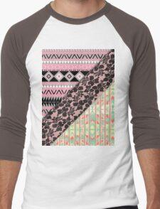 Abstract Pink Orange Aztec Black Girly Floral Lace Men's Baseball ¾ T-Shirt