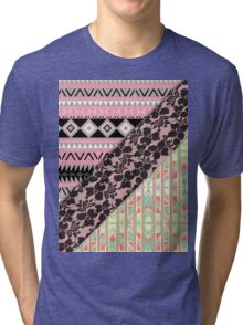 Abstract Pink Orange Aztec Black Girly Floral Lace Tri-blend T-Shirt
