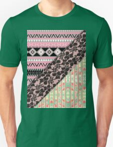 Abstract Pink Orange Aztec Black Girly Floral Lace Unisex T-Shirt