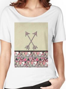 Retro Tribal Arrows Vintage Earth Aztec Pattern Women's Relaxed Fit T-Shirt