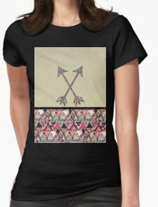 Retro Tribal Arrows Vintage Earth Aztec Pattern Womens Fitted T-Shirt