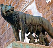 she-wolf suckles Romulus and Remus, statue in Rome, Italy by Andrew Jones