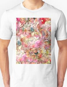 Colorful Watercolor Floral Pattern Abstract Sketch T-Shirt