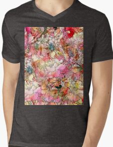 Colorful Watercolor Floral Pattern Abstract Sketch Mens V-Neck T-Shirt