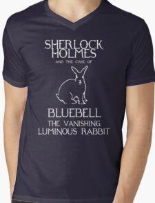 Sherlock Holmes and the case of Bluebell the vanishing luminous rabbit. Mens V-Neck T-Shirt