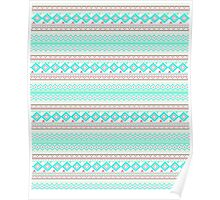Trendy Mod Bright Teal Pink Abstract Aztec Pattern  Poster