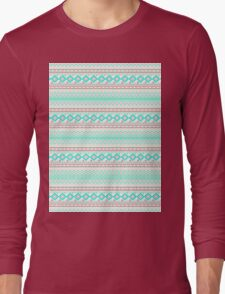 Trendy Mod Bright Teal Pink Abstract Aztec Pattern  Long Sleeve T-Shirt