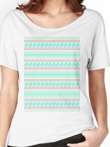 Trendy Mod Bright Teal Pink Abstract Aztec Pattern  Women's Relaxed Fit T-Shirt