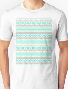 Trendy Mod Bright Teal Pink Abstract Aztec Pattern  Unisex T-Shirt