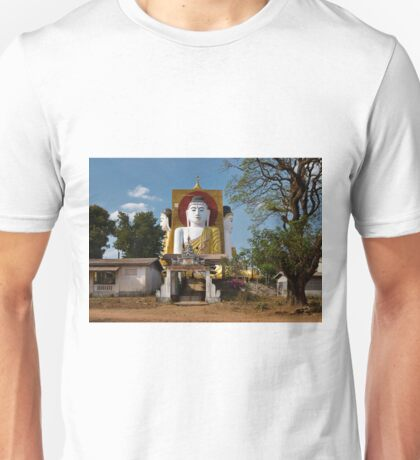 four sitting Buddhas 30 metres high looking in four points of the compass at Kyaikpun Pagoda Unisex T-Shirt
