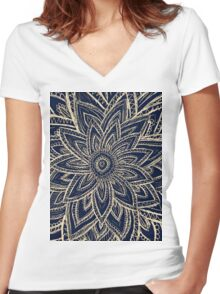 Cute Retro Gold abstract Flower Drawing on Black Women's Fitted V-Neck T-Shirt