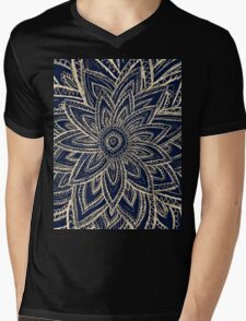 Cute Retro Gold abstract Flower Drawing on Black Mens V-Neck T-Shirt