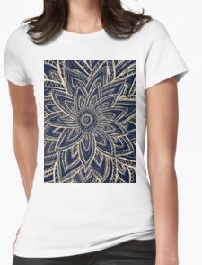 Cute Retro Gold abstract Flower Drawing on Black Womens Fitted T-Shirt
