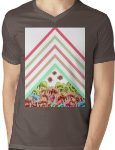 Modern Pink Teal Mint Green Chevron Floral Peonies Mens V-Neck T-Shirt