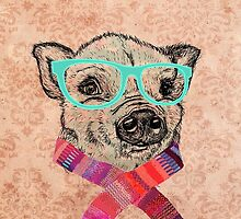 Funny Cute Pig Illustration Teal Hipster Glasses by GirlyTrend