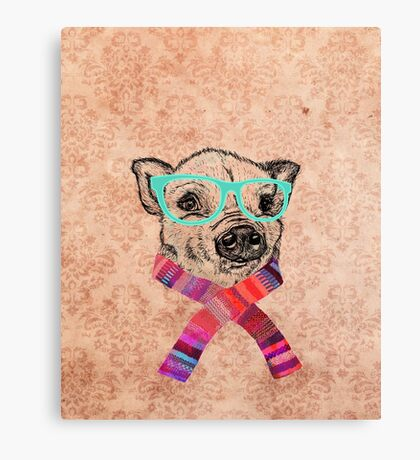 Funny Cute Pig Illustration Teal Hipster Glasses Canvas Print