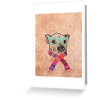 Funny Cute Pig Illustration Teal Hipster Glasses Greeting Card
