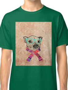 Funny Cute Pig Illustration Teal Hipster Glasses Classic T-Shirt