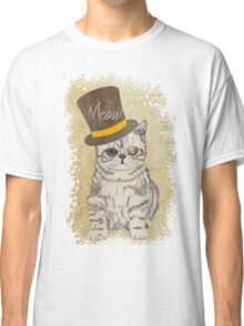 Funny Cute Kitten Cat Sketch Monocle and Top Hat Classic T-Shirt